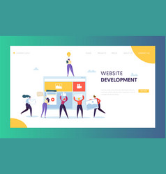 Web development landing page template flat people vector
