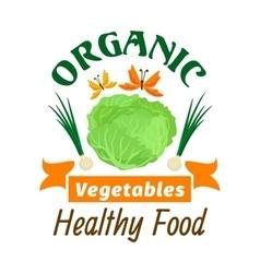 Cabbage Organic healthy vegetables emblem vector image