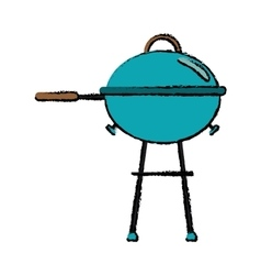 drawing grill barbecue kettle food camping vector image vector image