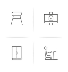 Furniture simple linear icon setsimple outline vector