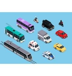 Isometric 3d Transport Set Flat Design vector image