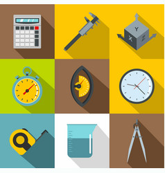 measure tools icon set flat style vector image vector image