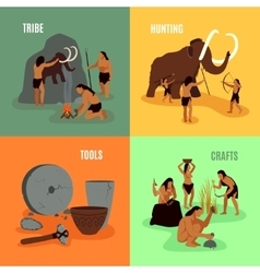 Prehistoric Stone Age 2x2 Images vector image vector image
