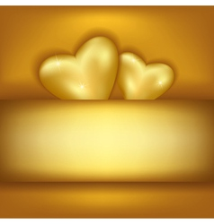 Golden stylish festive background with two hearts vector