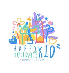 kid happy holidays logo original design colorful vector image vector image