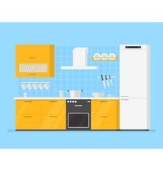 modern interior kitchen room in yellow tones vector image vector image