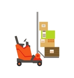Orange forklift warehouse car lifting the paper vector