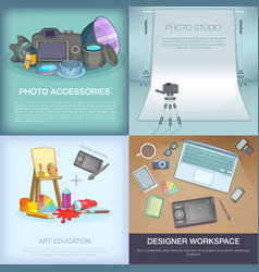 photo and art banner set cartoon style vector image