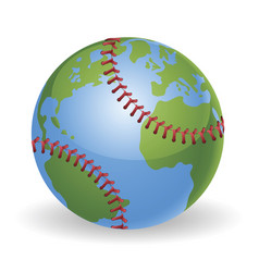 world globe baseball ball concept vector image vector image