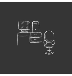 Computer set with table and chair Drawn in chalk vector image vector image