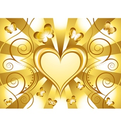 gold heart background vector image vector image