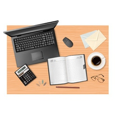 laptop and calculator and dairy vector image vector image