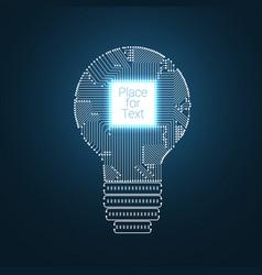 light bulb idea icon with circuit board inside vector image