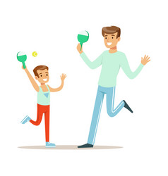 smiling man and boy playing table tennis dad and vector image vector image