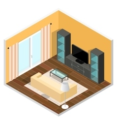 Interior of a Living Room Isometric View vector image