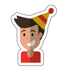portrait young man smiling hat party vector image