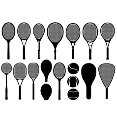 Set of different tennis rackets vector image