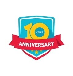 Ten years anniversary sticker color 10th vector image