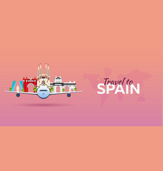 travel to spain airplane with attractions travel vector image