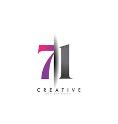 71 7 1 grey and pink number logo with creative vector image