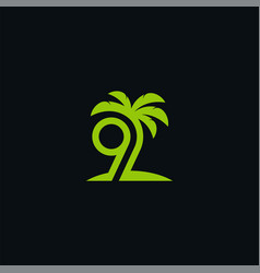9 palm vector image