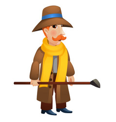 a man in a coat and hat holding a stick in his vector image