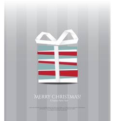 Abstract Christmas card gift and paper ribbon vector