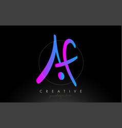 Af artistic brush letter logo handwritten vector