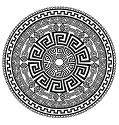Ancient round ornament isolated black meander vector