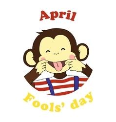 April 1 fools day cartoon icon vector image