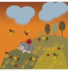 Autumn fantasy landscape with hedgehog vector image