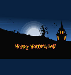 background halloween night with castle vector image