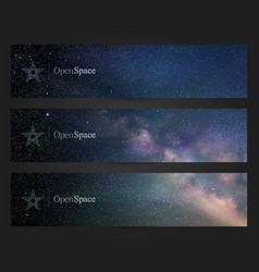 Banners with beautiful starry sky milky way and vector