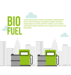 biofuel pump station gas barrels city environment vector image
