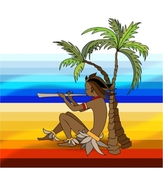 Black boy playing the flute vector image