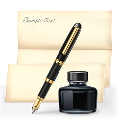 black fountain pen and ink bottle vector image