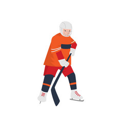 brave hockey player in a red-orange uniform and a vector image