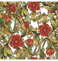 Bright vintage pattern with decorative flowers vector