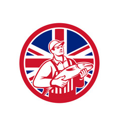 british fishmonger union jack flag mascot vector image