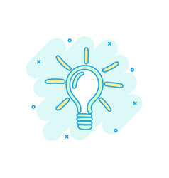 cartoon colored sketch light bulb icon in comic vector image