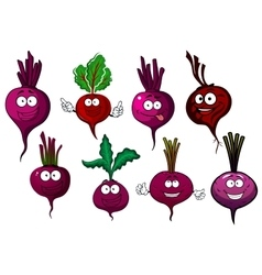 Cartoon isolated purple beet vegetables vector