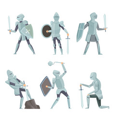 cartoon knights medieval warrior on horse vector image