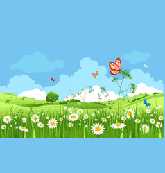 Cartoon spring landscape vector