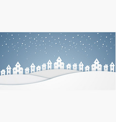 Castle on hill and and snow falling in winter vector