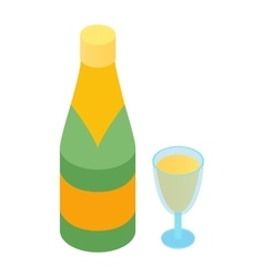 Champagne and glass isometric 3d icon vector