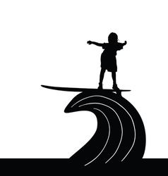 Child silhouette surfing on wave in black vector