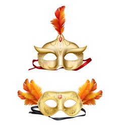 colombina golden masks 3d realistic set vector image