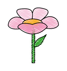 color crayon stripe cartoon flower with stem and vector image