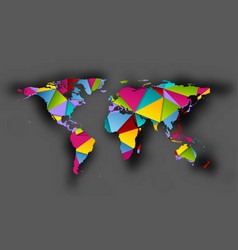 colorful polygonal world map with shadow vector image
