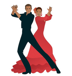 couple playing flamenco dancers palms handsome vector image